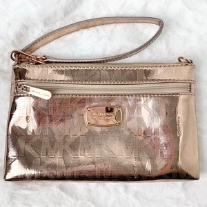Michael Kors Jet Set Mirror Rose Gold Wristlet